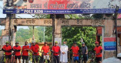 ऋषिकेश साईकिल क्लब राईडर्स का टपकेश्वर महादेव मंदिर में स्वागत